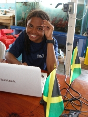 Achsah Mitchell: AGRRA data entry at Port Royal Marine Lab sporting out Waitt Foundation t-shirts and Jamaican flags!